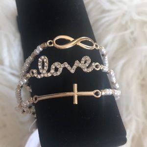 Jewelry - ❤️ Gold Triple Bracelet Set Love Infinity Cross